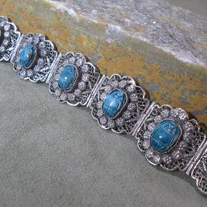 SCARAB Panel Bracelet, Persian Nomadic Filigree